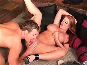 Sophie Dee jaws humps this rock hard pulsating fuckpole