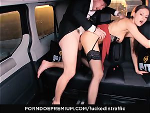 pummeled IN TRAFFIC - Footjob and car orgy with Tina Kay