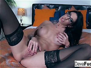 super-hot black-haired Dava plays with her tight cooter