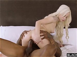 tiny titties bony girl Elsa Jean takes black hard-on