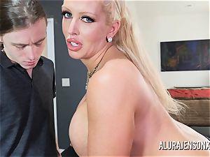 ample knocker adult movie star Alura Jenson romps a strung up junior man