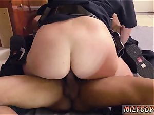 well-lubed up interracial ebony male squatting in home gets our milf officers squatting on