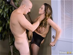 Office buxom stunner Ariella Ferrera takes immense wood
