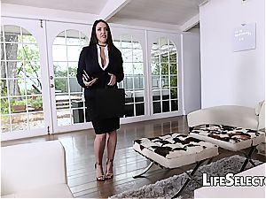 huge-chested Angela white luvs sole fetish with her cotenant