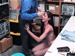 steamy cougar Sofie is taken to individual office by kinky officer after stealing