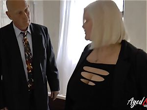 AgedLovE Lacey Starr nailed stiff with Sales Agent