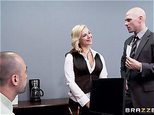 Generous boss bangs sizzling assistant Sarah Vandella