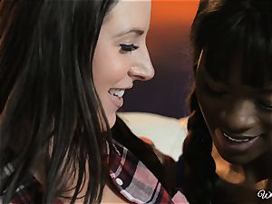 Ana Foxxx and Angela white loves interracial girl-on-girl act
