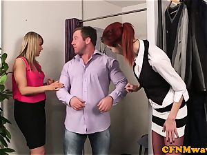 sandy-haired CFNM honey deepthroating customers manhood