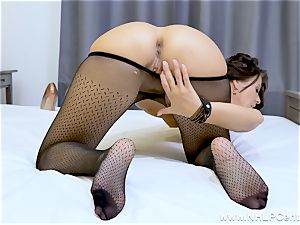 mind-blowing black-haired drains in sheer nylon stockings