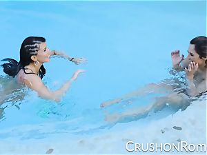punch girls - Romi Rain and Reena Sky pound in the pool