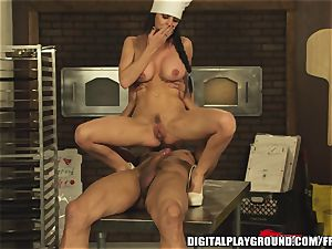 thick orb dark haired chef Brandy Aniston luvs messy fucky-fucky
