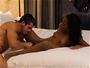 gobbling out ebony sweetheart Ashley pinkish in motel apartment