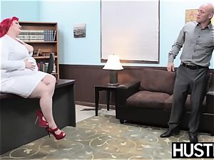 sandy-haired plus-size Eliza Allure jizz wiped after office lovemaking