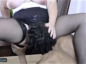 AGEDLOVE granny plump Lacey Starr faced her pals