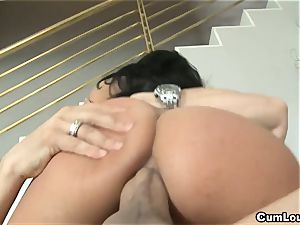 kinky Anissa Kate rides a giant weenie deep in her ass