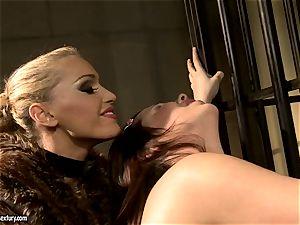 Kathia Nobili in hairy jacket torturing a warm babe