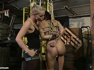 Kathia Nobili smacking the bootie of super-hot damsel with flog