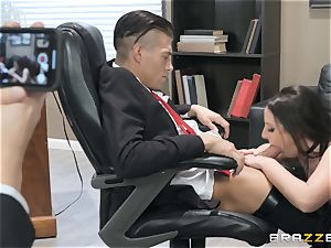 insatiable black-haired Angela white plowed over the table