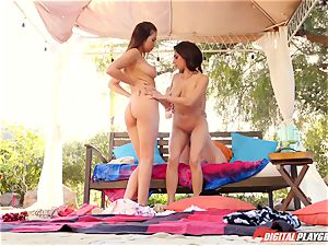 Rich minx Darcie Dolce seduces her super-cute mate Jenna Sativa and Melissa Moore outdoors