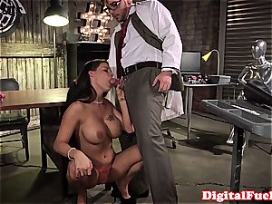 ample tit doll super-naughty at work for a superb prick inside