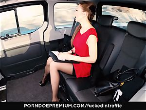 pounded IN TRAFFIC Tina Kay footjob in the backseat