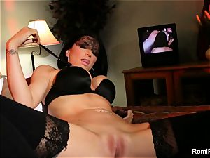 Romi stuffs panties in her labia then tongues them neat