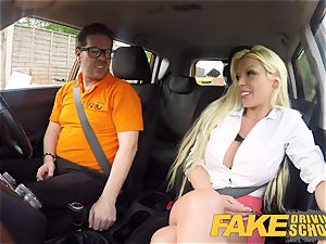 faux Driving school Barbie Sins sloppy blowjob