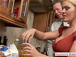 Krissy in the kitchen fellate and romps until his beef whistle gushes