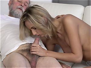 OLD4K. ultra-cutie takes part in spunky lovemaking with splendid aged dad