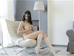 big-chested sweetie from Russia Kira princess flashes her stylish gash