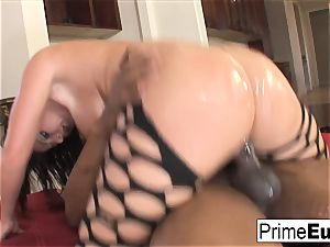 thick breast dark haired Sophie Dee has multiracial fun