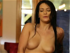 tatted babe Karina Jade strapped up and screwed rock-hard