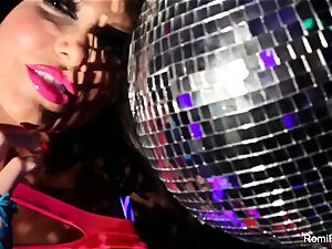 Romi plays w disco ball then stuffs fucktoys in her beaver