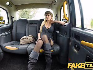 faux cab big-boobed blondie milf Amber Jayne gargles and nails