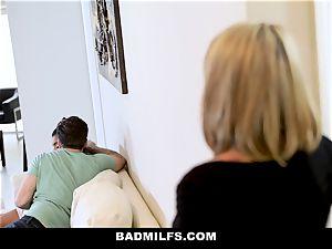 BadMILF - Jealous Stepmom threesome With Stepson And girlfriend