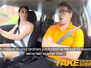 faux Driving school filthy internal cumshot climax