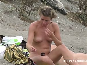 ideal huge-titted melons bare beach spycam totally bare