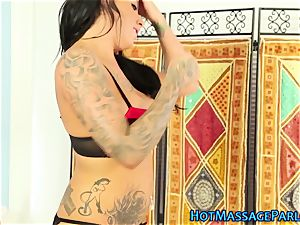 big-boobed stunner touches fuckpole