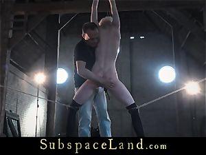 Grounded slave facehole hard pounded in bondage use of ache