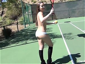 bare-chested tennis with Dani Daniels and Cherie DeVille