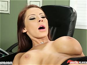 Mature guy tests his fresh secretary in office