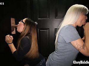 6 nasty whores in random gloryholes sucking strangers