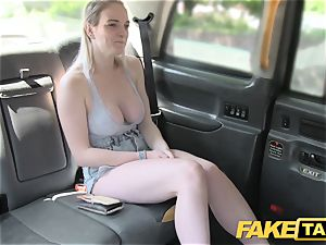 fake cab Cabby attempts luck on molten blonde with immense bosoms