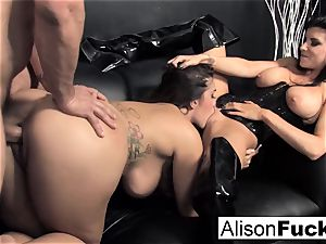 3-way xxx spirited fuckfest with Alison
